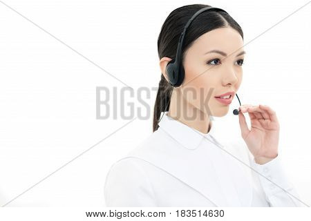 Portrait Of Call Center Operator In Headset Isolated On White