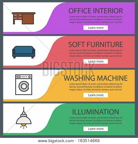 Furniture banner templates set. Table, sofa, washing machine, ceiling lamp. Website menu items. Color web banner. Vector headers design concepts