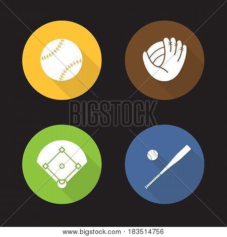 Baseball flat design long shadow icons set. Bat and ball, mitt, field. Softball equipment. Vector silhouette illustration
