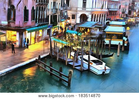 Colorful painting of the Grand Canal from Rialto Bridge Venice, Itlaly