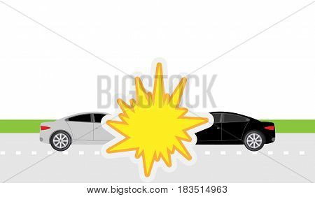 Car collision isolated on white background. Vector illustration. Eps 10.