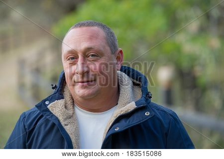 Portrait of an adult male outdoor. Age of forty years. Ukraine. Europe.
