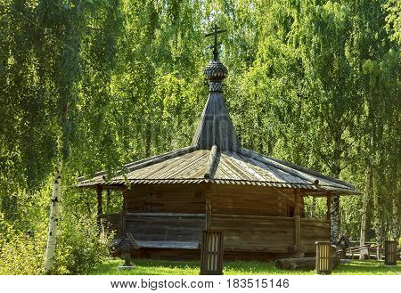 Chapel in the Russian village. Summer. Old wooden houses - monument of ancient Russian architecture. Golden ring Russia, Kostroma