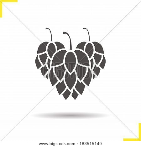 Hop cones glyph icon. Drop shadow silhouette symbol. Negative space. Vector isolated illustration