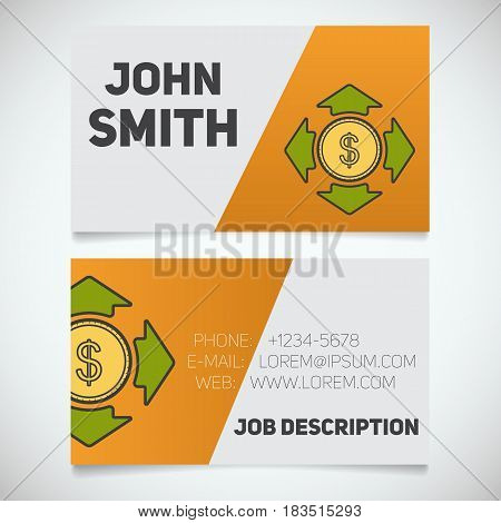 Business card print template with money spending logo. Manager. Accountant. Business coach. Stationery design concept. Vector illustration