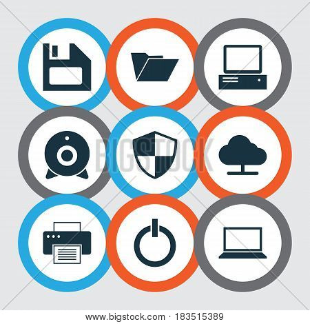 Laptop Icons Set. Collection Of Power On, Monitor, Broadcast And Other Elements. Also Includes Symbols Such As Monitor, Dossier, Notebook.
