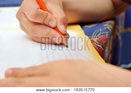 Little Boy Diligently Writes With A Pencil In His Notebook. Preschool Education Of Children And Peda