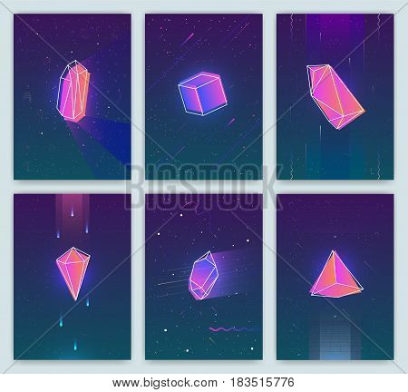 Bright backgrounds with retro futuristic neon space and crystals. Trendy posters of 80s style. vector cards collection