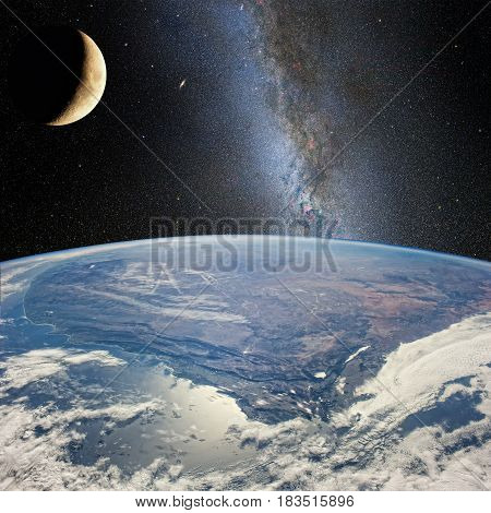 Moon Over The Earth, On The Background Of Milky Way.  Elements Of This Image Furnished By Nasa (http