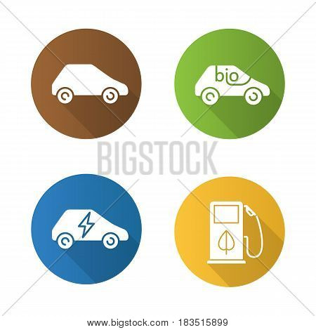 Eco friendly cars. Flat design long shadow icons set. Bio, electric vehicles, eco fuel concept. Vector silhouette illustration
