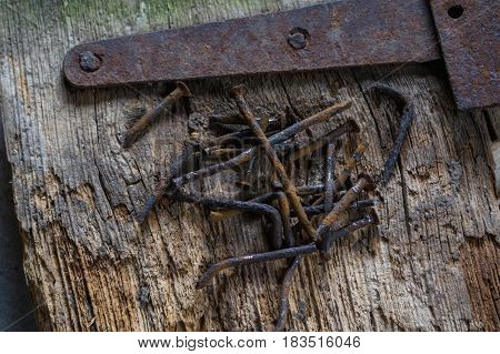 Group of rusty old nails an old piece of wood.