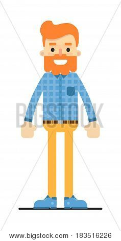 Handsome redheaded bearded hipster character isolated on white background vector illustration. People personage in flat design.