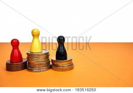 Money winner concept with game figures - copyspace.
