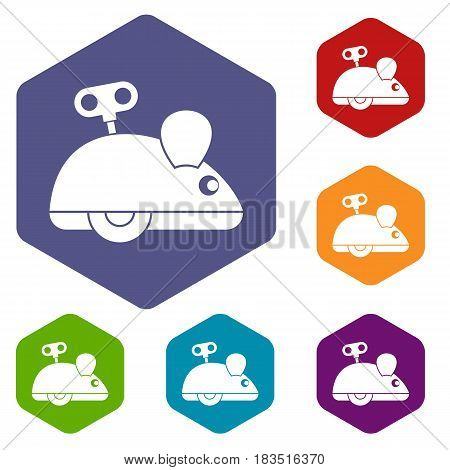 Clockwork mouse icons set hexagon isolated vector illustration