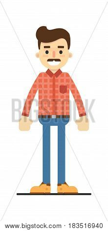 Positive adult man in shirt and pants isolated on white background vector illustration. People personage in flat design.