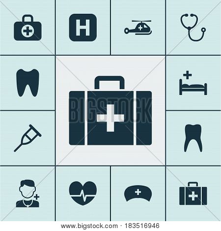 Medicine Icons Set. Collection Of Physician, Rhythm, Claw And Other Elements. Also Includes Symbols Such As Cure, Rack, Capsule.
