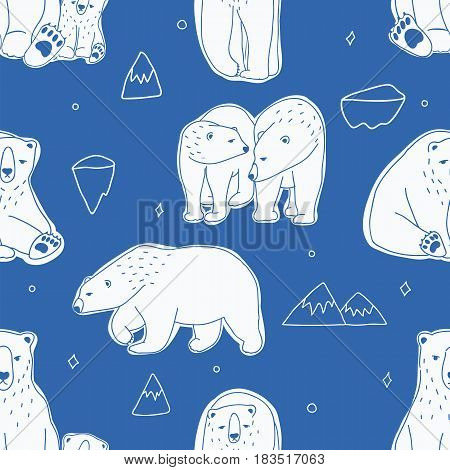 Seamless pattern with white polar bears. Hand drawn, doodle vector background