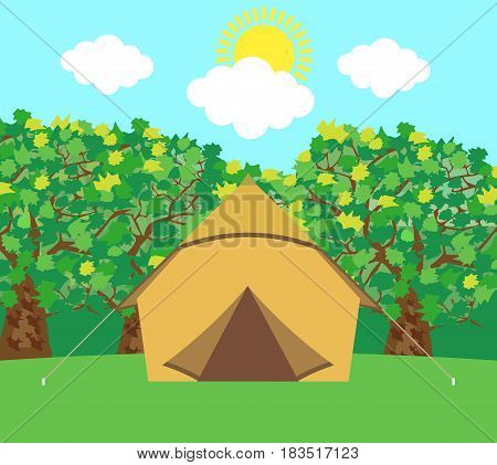 Camping tent icon background. Vector illustration. Eps 10.
