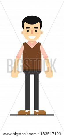 Smiling young worker in pullover and pants isolated on white background vector illustration. People personage in flat design.