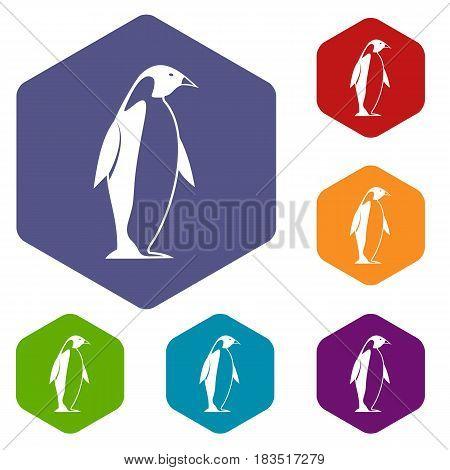 King penguin icons set hexagon isolated vector illustration