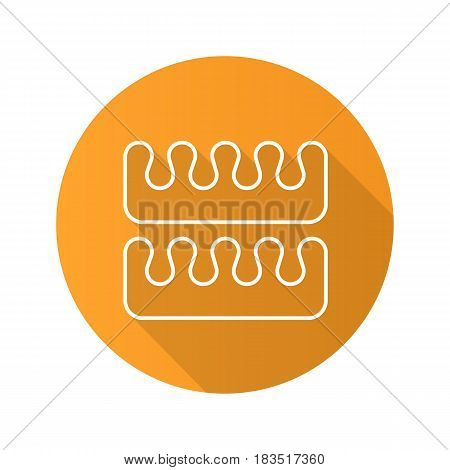 Manicure and pedicure fingers and toes separators. Flat linear long shadow icon. Vector line symbol