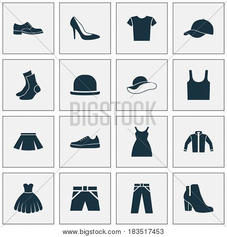 Dress Icons Set. Collection Of Dress, Half-Hose, Singlet And Other Elements. Also Includes Symbols Such As Half-Hose, Fedora, Casual.
