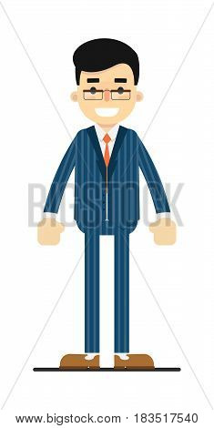 Positive and young office manager isolated on white background vector illustration. People personage in flat design.
