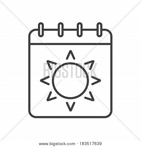 Summer season linear icon. Thin line illustration. Calendar page with sun contour symbol. Vector isolated outline drawing