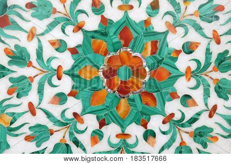 AGRA, INDIA - FEBRUARY 14: Traditional colorful floral marble tabletops for sale in Agra, Uttar Pradesh, India on February 14, 2016.
