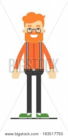 Redheaded hipster in shirt, suspenders and pants isolated on white background vector illustration. People personage in flat design.