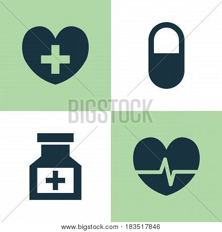 Drug Icons Set. Collection Of Drug, Pellet, Heal And Other Elements. Also Includes Symbols Such As Pulse, Medicine, Pill.