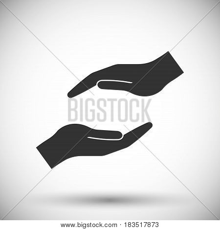 protecting hands icon isolated on white background. Vector illustration. Eps 10.
