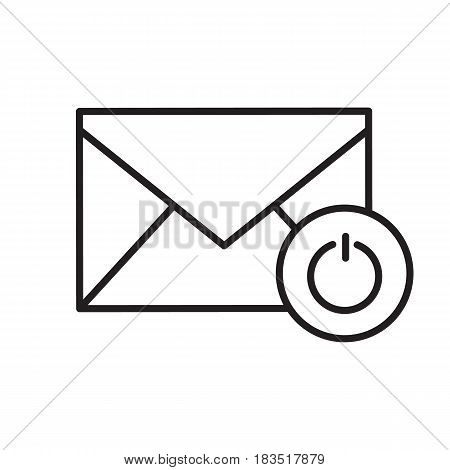 Turn off email notifications linear icon. Thin line illustration. Letter with turn off button contour symbol. Vector isolated outline drawing