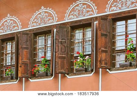 Windows of an Old House in Plovdiv Bulgaria