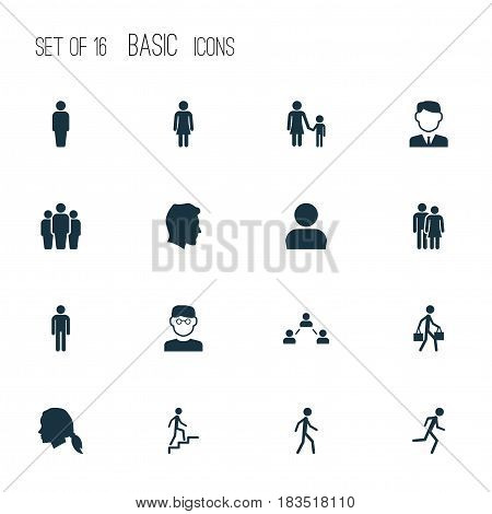 People Icons Set. Collection Of Ladder, Jogging, Member And Other Elements. Also Includes Symbols Such As Male, Child, Profile.