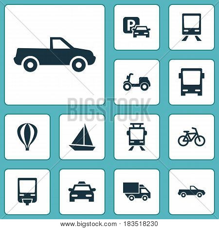 Transportation Icons Set. Collection Of Skooter, Railway, Cab And Other Elements. Also Includes Symbols Such As Autobus, Cab, Sign.