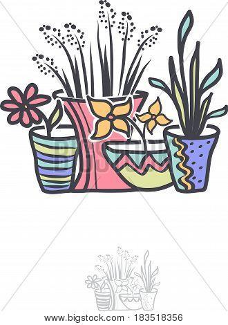 Different Bright Flower in Pot Logo Illustration Design
