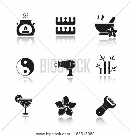 Spa salon drop shadow black icons set. Aroma therapy candle, fingers and toes separators, mortar and pestle, yin yang sign, hairdryer, bamboo sticks, cocktail, foot file. Isolated vector illustrations