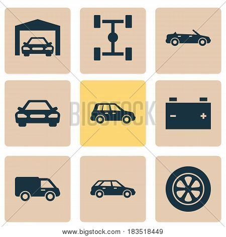 Automobile Icons Set. Collection Of Accumulator, Convertible Model, Truck And Other Elements. Also Includes Symbols Such As Station, Accumulator, Car.
