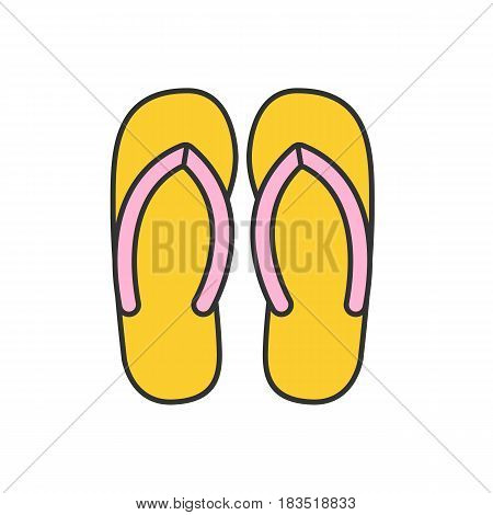 Flip flops color icon. Summer slippers. Isolated vector illustration