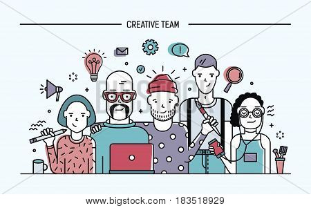 Creative business team concept. Banner with teamwork command. Young designers, girls and guys cv. Lineart colorful flat illustration