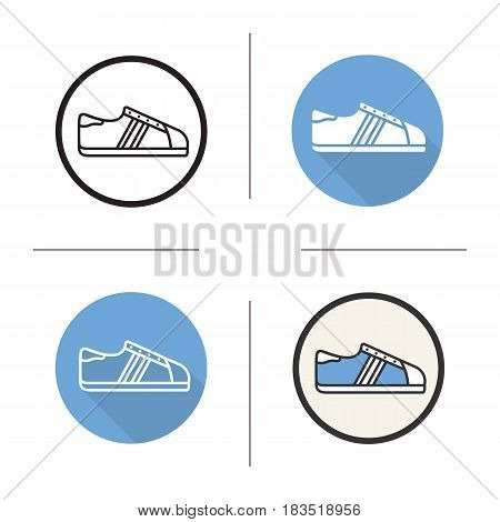 Sneaker icon. Flat design, linear and color styles. Isolated vector illustrations
