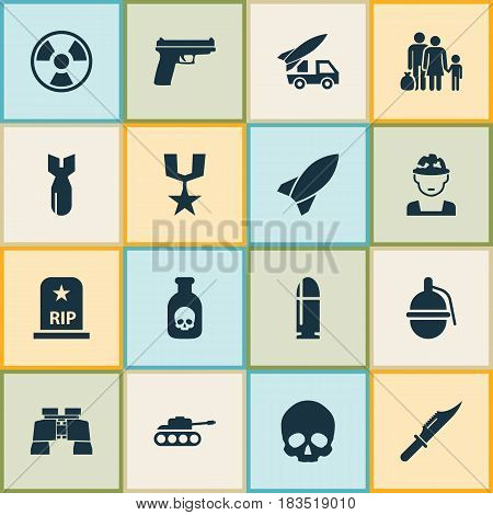 Warfare Icons Set. Collection Of Panzer, Rocket, Danger And Other Elements. Also Includes Symbols Such As Head, Shot, Knife.