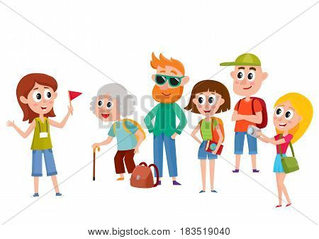 Tour guide with group of tourists, cartoon vector illustration isolated on white background. Group of tourists, travelling family listening to female guide telling something interesting, sightseeing poster