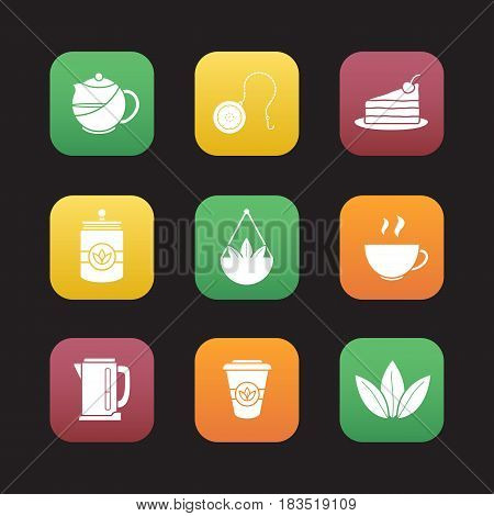 Tea flat design icons set. Teapot and ball infuser, chocolate cake on plate, tea container, steaming cup, electric kettle, takeaway paper cup. Web application interface. Vector illustrations