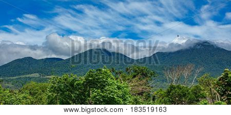 Panoramic view of rincon de la vieja vulcano and clouds
