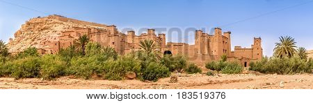 Panoramic view at the Kasbah Ait Benhaddou in Morocco