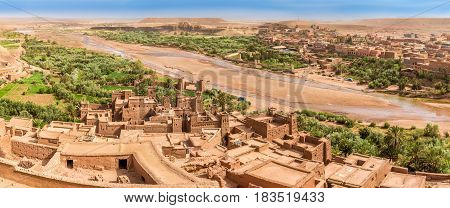 Panoramic view at the valley of Kasbah Ait Benhaddou in Morocco