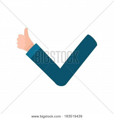 Male arm, hand in business suit sleeve showing thumb up, approval, confirmation, cartoon vector illustration on white background. Funny cartoon male arm showing thumb up