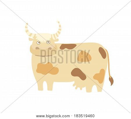 Funny cow hand drawn vector illustration isolated on white background. Cute cattle farm animal, domestic livestock in cartoon style.